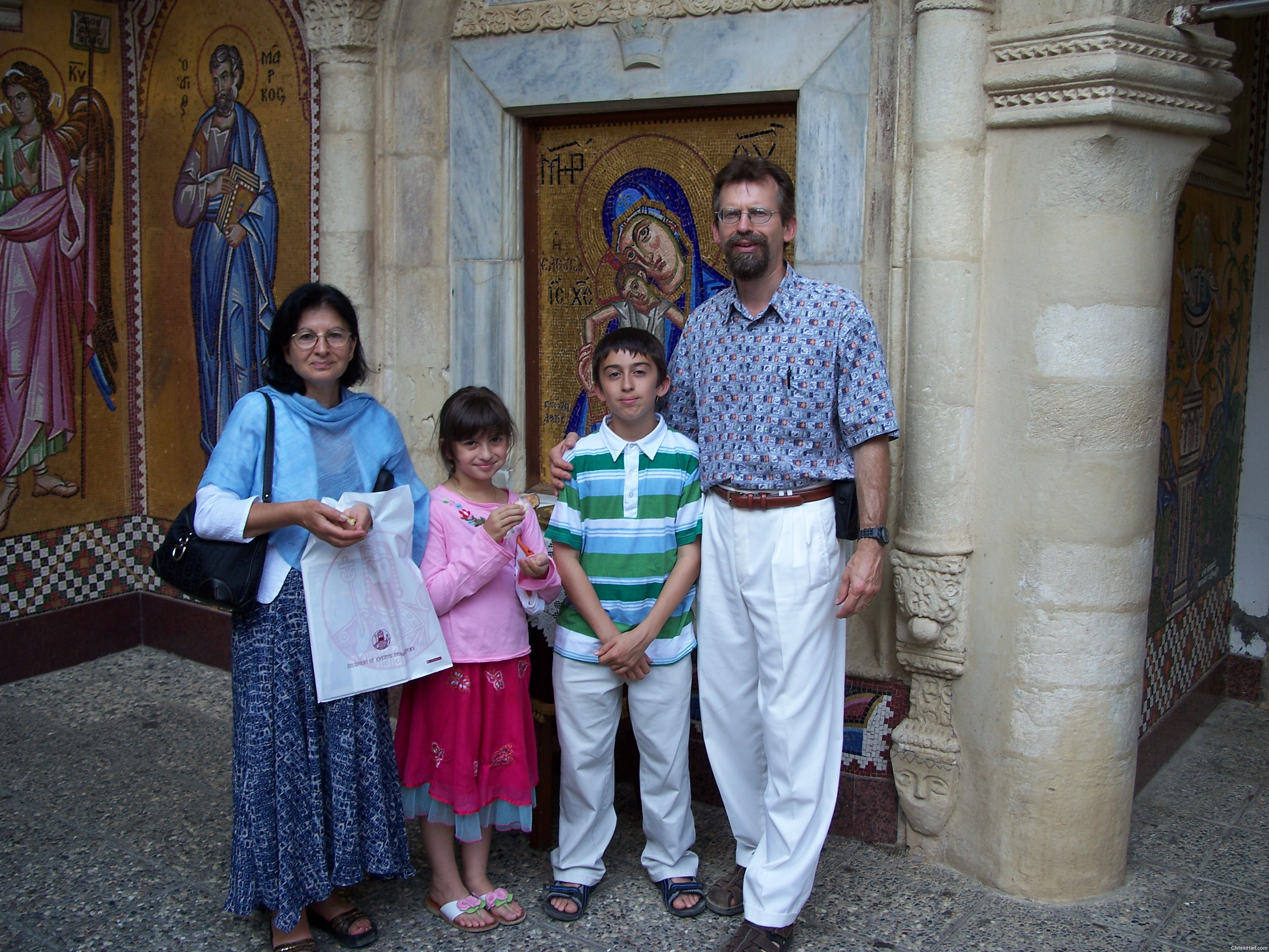 Author and family outside church