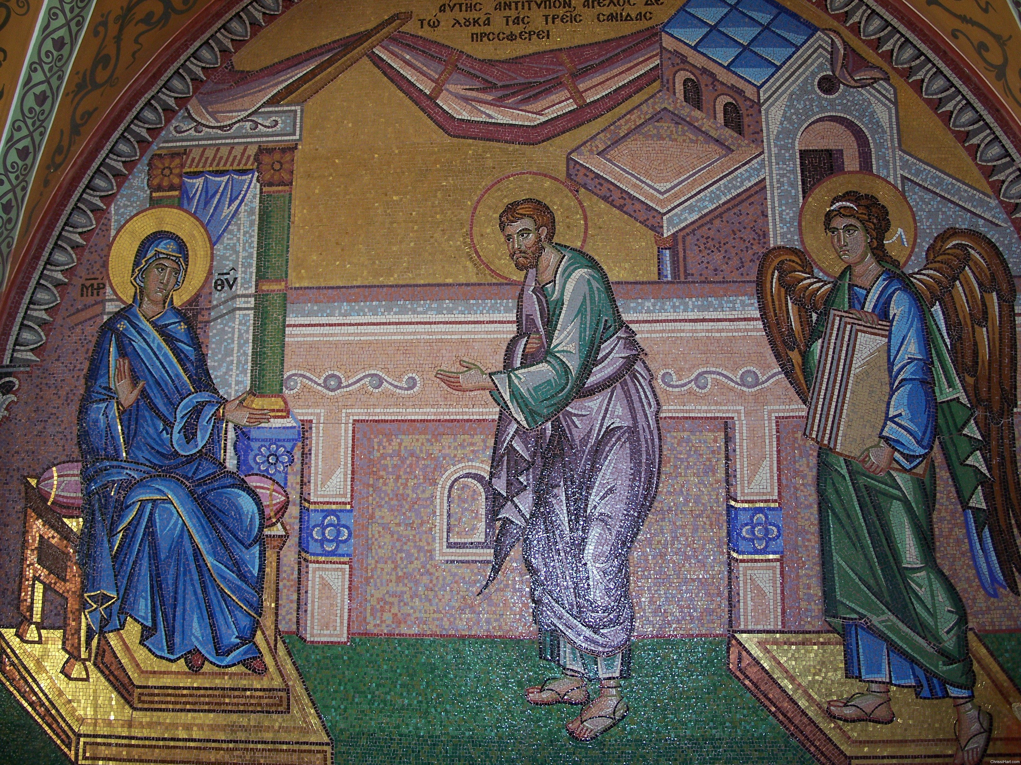 Theotokos commissions  St Luke to paint her,  Archangel Gabriel supplies three boards 5