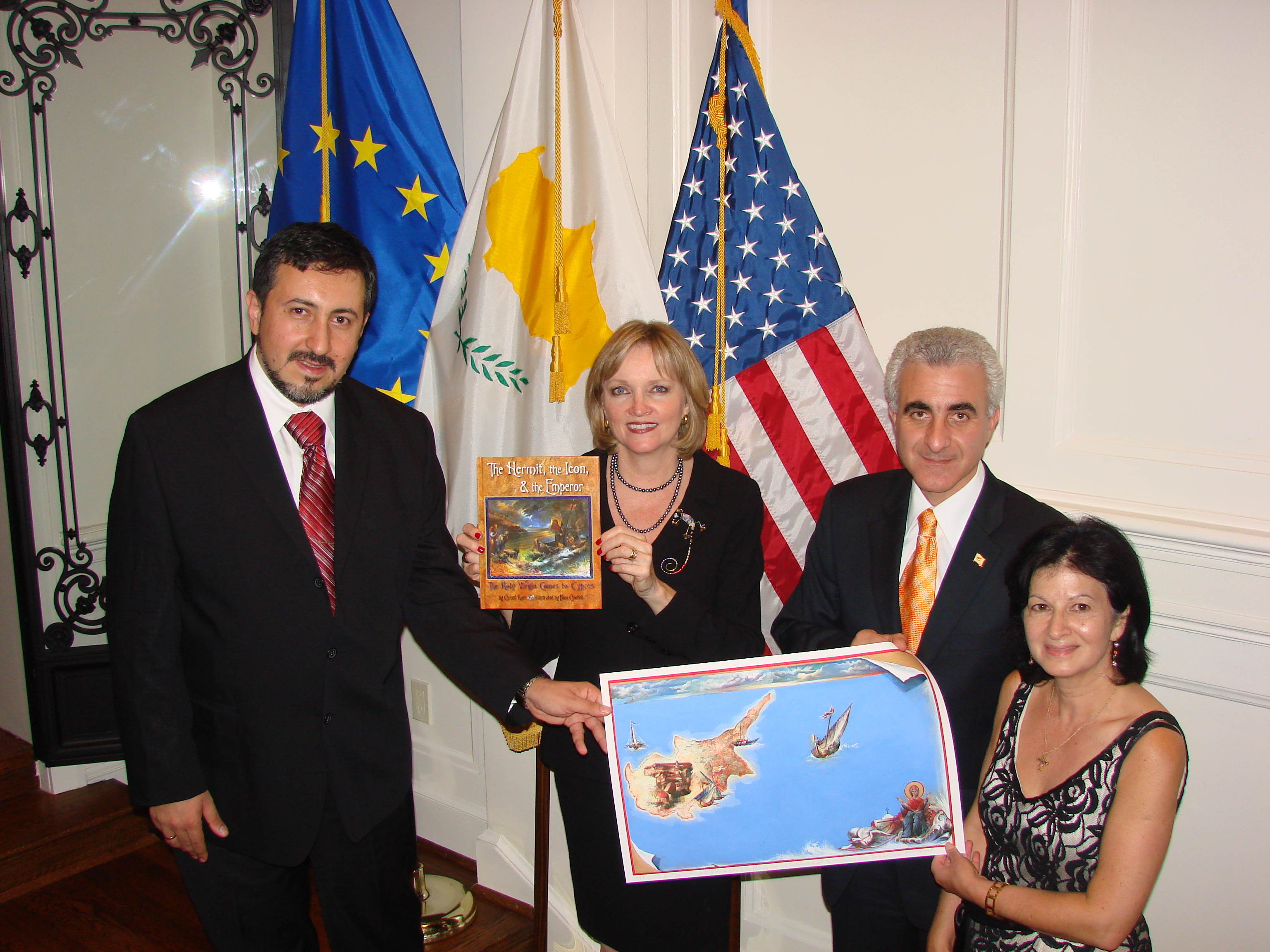 niko-and-chrissi-present-their-new-book-and-artist-proof-to-ambassador
