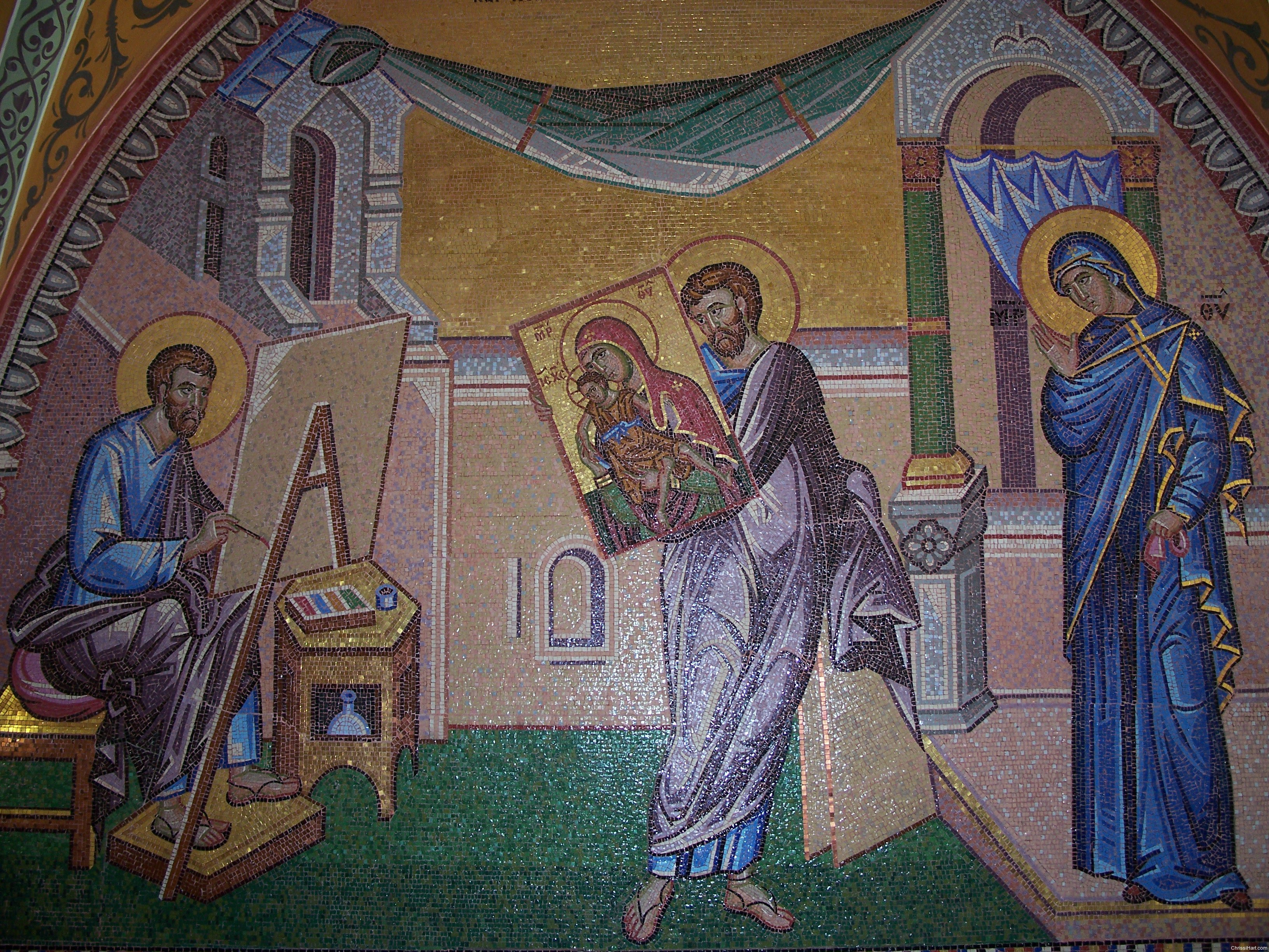 St Luke paints Theotokos who blesses icons 6